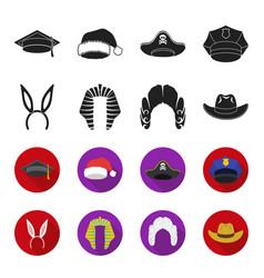 Rabbit ears judge wig cowboy hats set vector