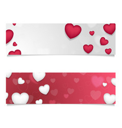 Red and grey banners with hearts vector