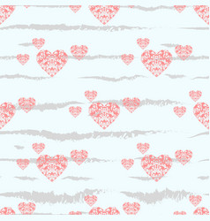 red heart seamless pattern colorful hearts vector image