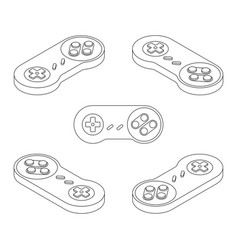 retro console gamepad in isometric view vector image