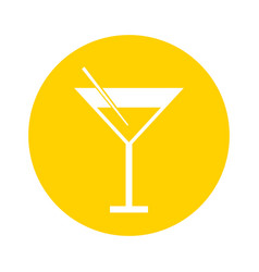 Round icon yellow cocktail cartoon vector