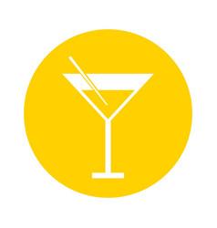 round icon yellow cocktail cartoon vector image