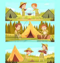 Scouts activities cartoon banners set vector