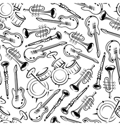 Seamless jazz musical instruments pattern vector