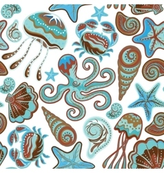 seamless pattern sea life fishes whale vector image