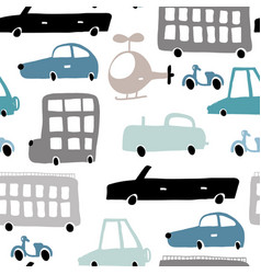 Seamless pattern with hand drawn transport cartoon vector