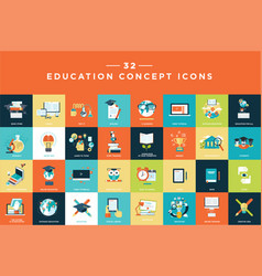 set flat design education icons vector image