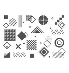 Set linear bauhaus inspired graphic elements vector