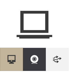 set of 4 editable computer icons includes symbols vector image