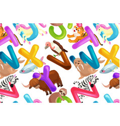 set of animals alphabet for kids letters cartoon vector image