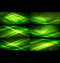 Set of neon smooth wave digital abstract vector