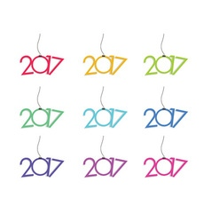 Set of New Year 2017 card vector