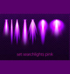 set of pink searchlights on a transparent vector image