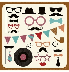 Set retro party elements mustaches hats and vector