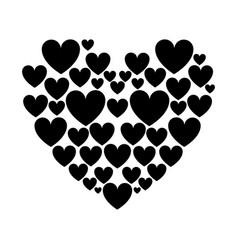 Silhouette hearts love vector