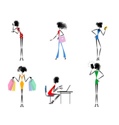 six modern girls vector image