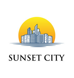 skyline building silhouette logo with sunset vector image