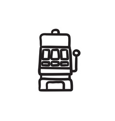 Slot machine sketch icon vector