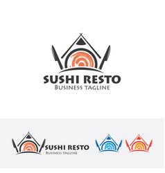 sushi resto logo design vector image