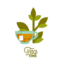 Tea time poster of cup green leaf and teabag vector