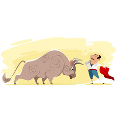 toreador and bull vector image