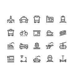 Transport line icons public bus car airplane vector