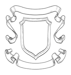 Vintage ribbons and shield vector image