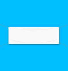 Vinyl banner blank white isolated on blue vector