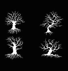 white halloween tree on black background vector image