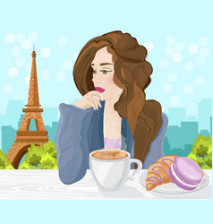 woman drinking coffee in paris eiffel vector image