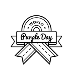 World Purple day greeting emblem vector image