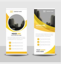 Yellow circle business roll up banner flat design vector
