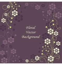 Beautiful floral pattern on violet background vector image