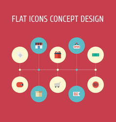 flat icons trolley shop label and other vector image vector image
