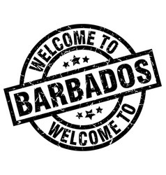welcome to barbados black stamp vector image