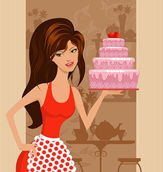 beautiful girl with a cake in the restaurant vector image vector image