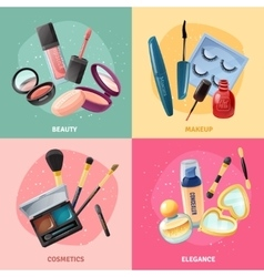 Cosmetics Makeup Concept 4 Icons Square vector image vector image