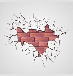 cracks with brick wall vector image vector image