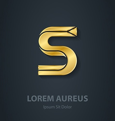 elegant gold font Letter S Template for company vector image vector image