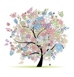 Floral tree in pastel colors vector image vector image