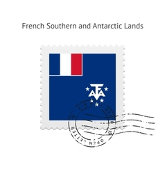 French Southern and Antarctic Lands Flag Postage vector image vector image