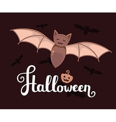 halloween with big bat text pumpkin and fl vector image