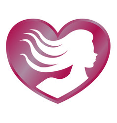 heart shape with woman silhouette vector image
