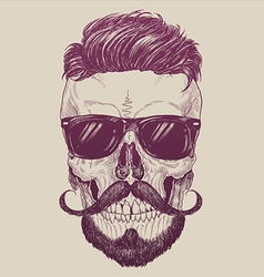 Hipster skull with sunglasses hipster hair vector image vector image