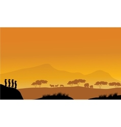 Beautiful meerkat silhouette at afternoon vector