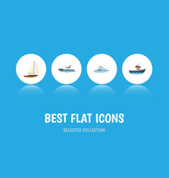 flat icon vessel set of sailboat transport boat vector image vector image