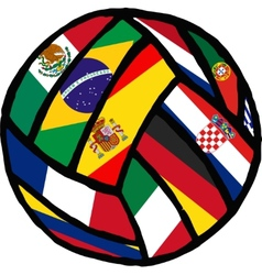 Football soccer ball made of flags vector