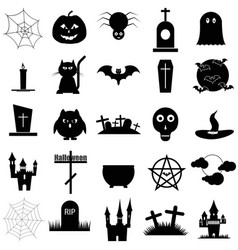 halloween set black icon on white vector image vector image
