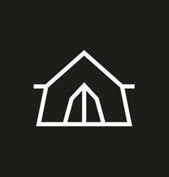 tent icon on black background vector image vector image