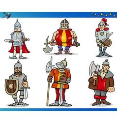 Cartoon Fantasy Knights Characters Set vector image